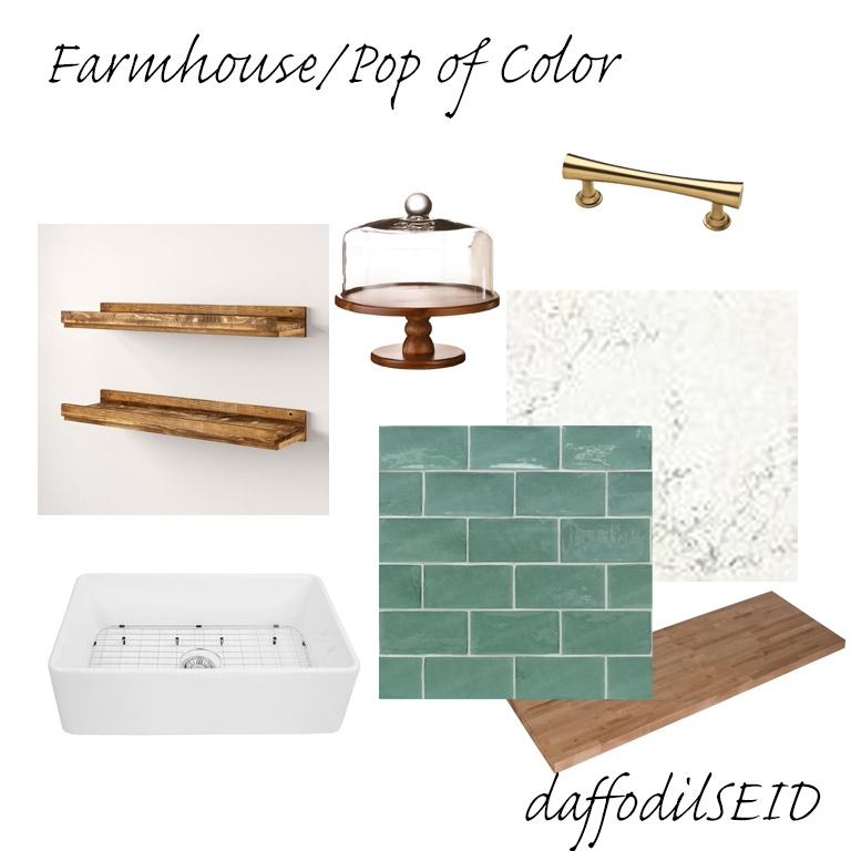 daffodilseid -white kitchen with pop of color