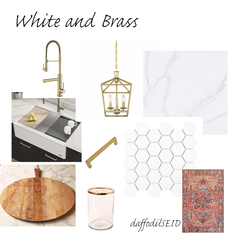 daffodilseid - white kitchen with brass accents