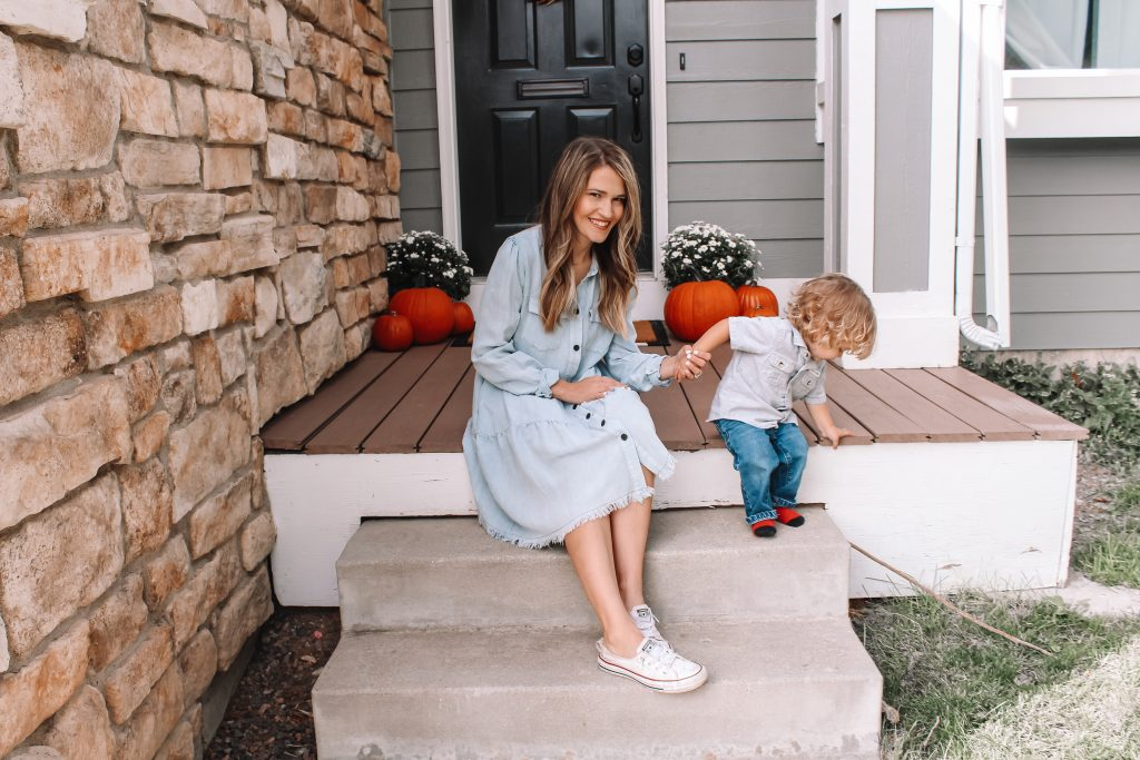 chambray and sneakers
