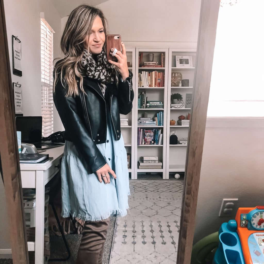 scarf jacket and over knee boots