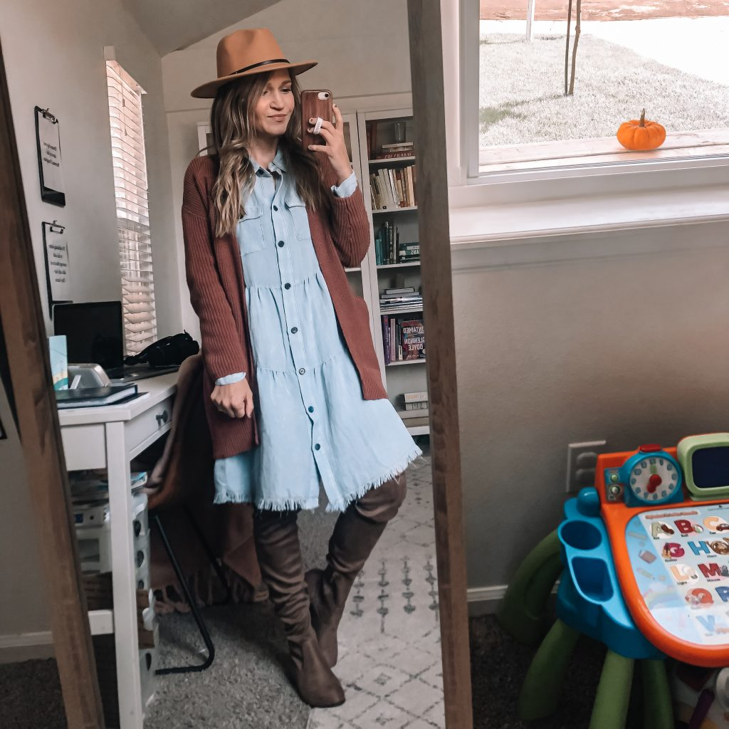cardigan dress and over the knee botos