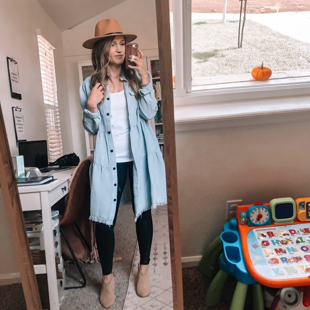 leggings chambray and booties
