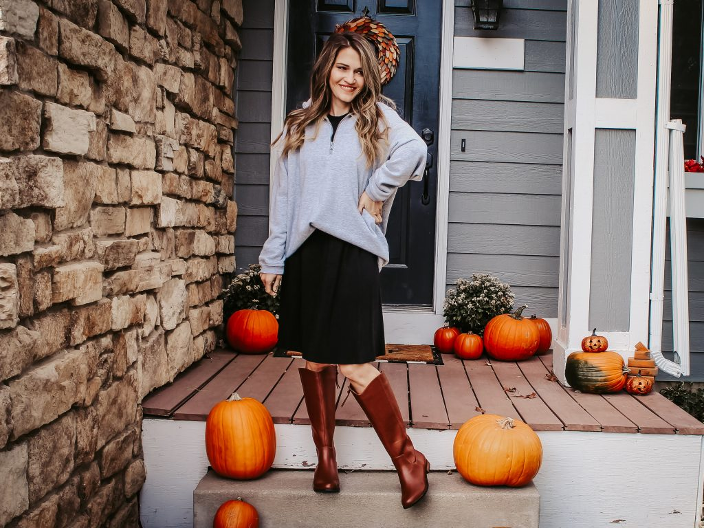 dress with sweatshirt and boots