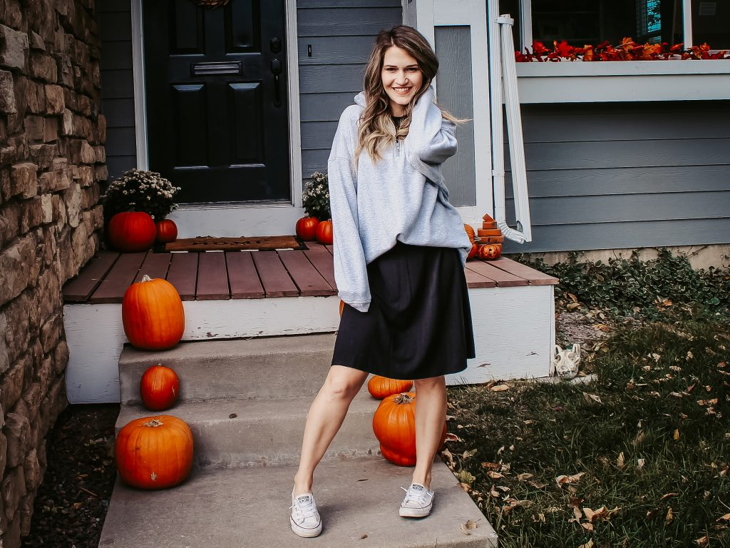 dress with sweatshirt and sneakers
